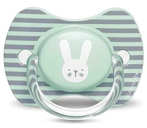 Silk pacifier 6-18 months from the Hygge Baby series - Subinx gray striped rabbit (90543) SUAVINEX
